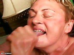 Blowjob, Facial, Granny, Mature