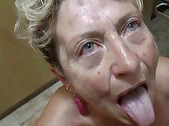 Blowjob, Cumshot, German, Granny