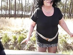 BBW, French, Granny, Outdoor